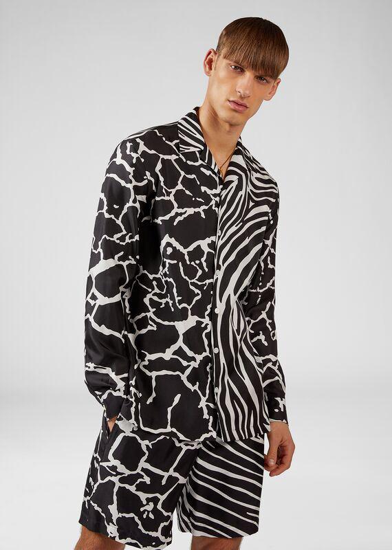 a71bfce3 Men's Zebra/Giraffe Printed Long-Sleeve Silk Shirt in Blue