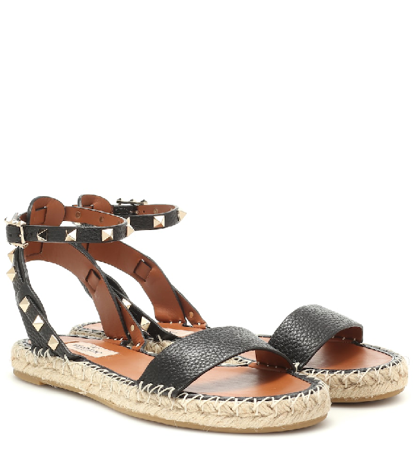 Valentino Rockstud Double Leather Espadrille Sandals In Black
