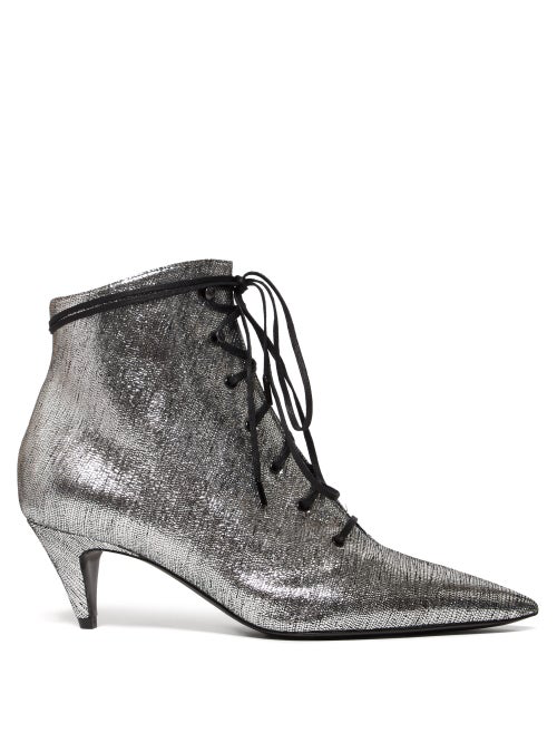 aa6a70d8d92 Saint Laurent - Charlotte Lace Up Metallic Leather Ankle Boots - Womens -  Silver