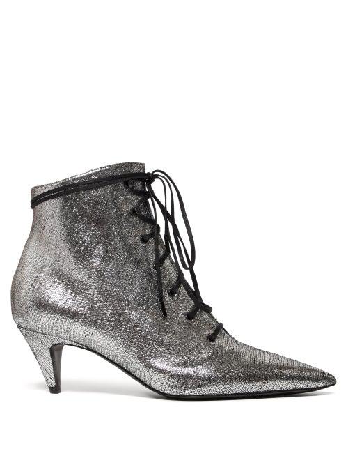 e93b7cc1a93 Saint Laurent - Charlotte Lace Up Metallic Leather Ankle Boots - Womens -  Silver