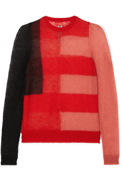 RICK OWENS COLOR-BLOCK MOHAIR-BLEND SWEATER