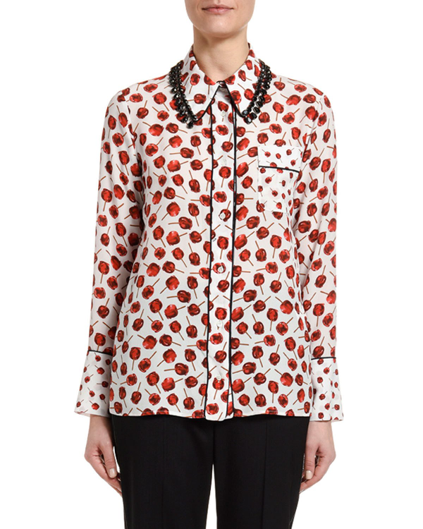 N°21 PRINTED LONG-SLEEVE BLOUSE WITH EMBELLISHED COLLAR,PROD147230025