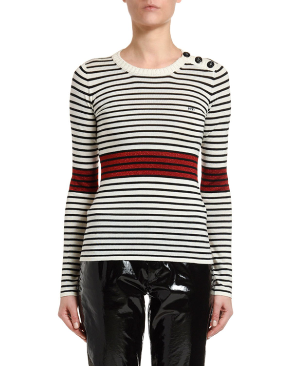 N°21 Striped Long-Sleeve Top With Button Details In Milky White