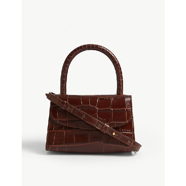 1be9025a By Far Croc-Embossed Leather Mini Tote In Dark Brown   ModeSens