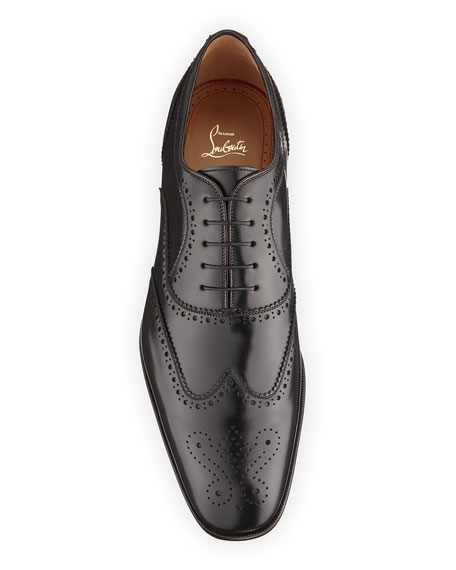 Christian Louboutin Men's Cousin Platerissimo Brogue Leather Oxford Shoes In Black