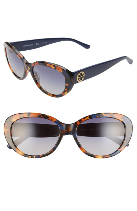 3e2c46adba50b Tory Burch 56Mm Gradient Cat Eye Sunglasses - Amber Tortoise/ Blue Gradient