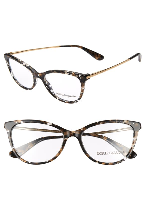 a6814cca770a Dolce & Gabbana 54Mm Optical Glasses - Black Spotted/ Gold | ModeSens