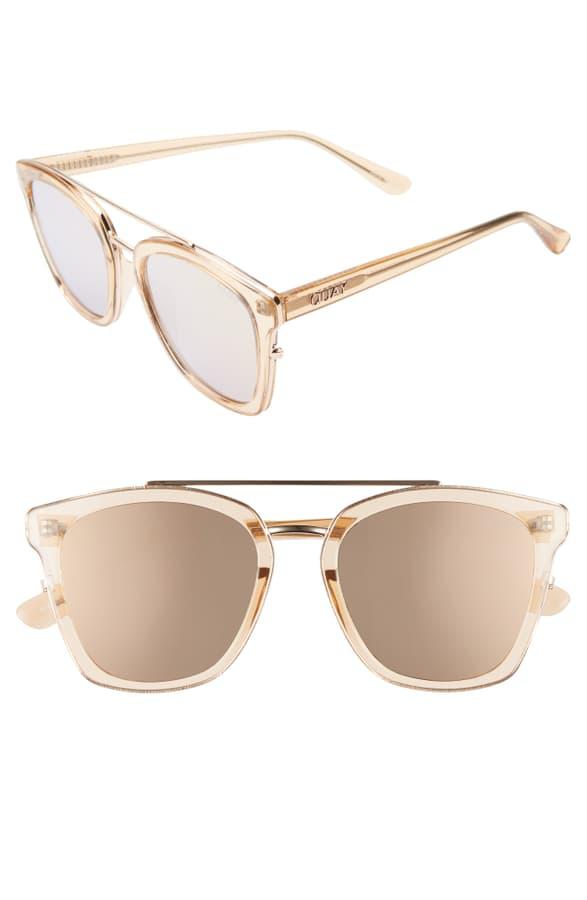 Quay Sweet Dreams 51Mm Square Sunglasses - Champagne/ Rose