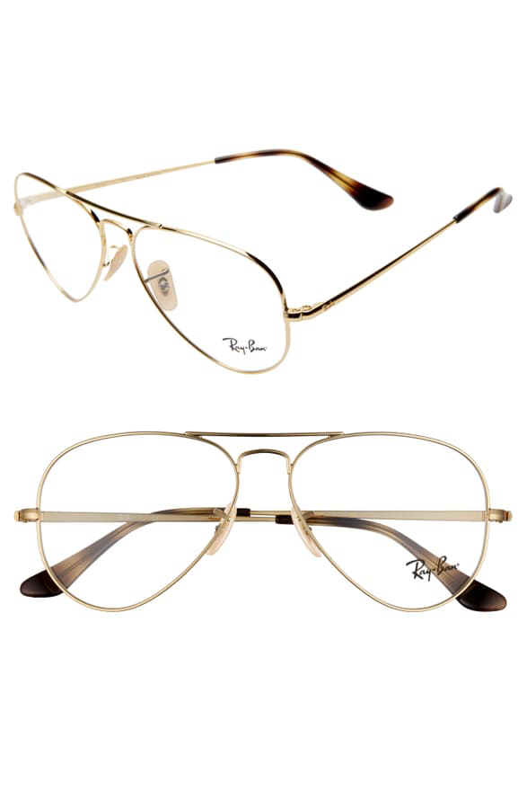55mm Aviator Optical Glasses Gold Clear