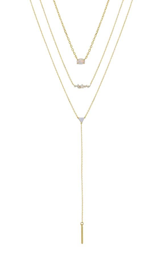 Ettika Set Of 3 Opal Necklaces In Gold Modesens