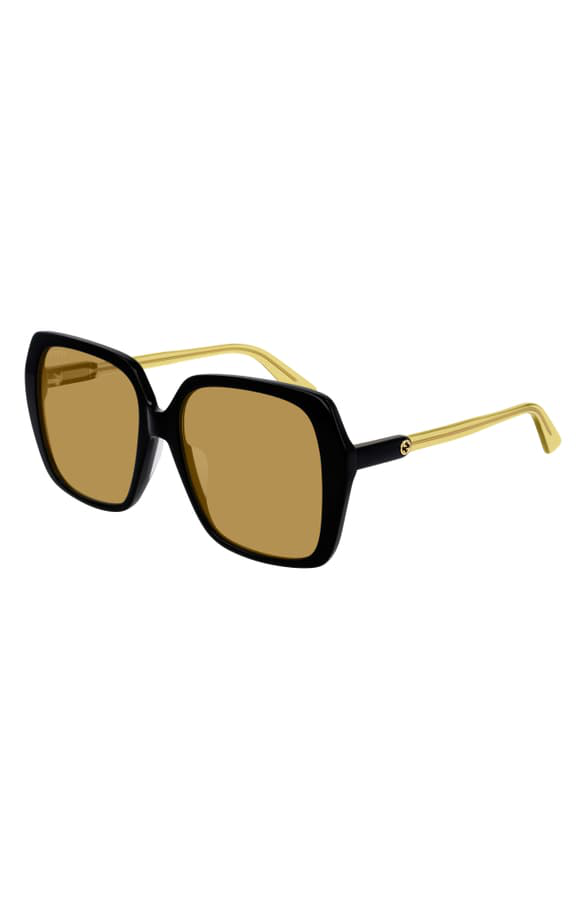 af2e1508d Gucci 56Mm Square Sunglasses - Shiny Black/ Brown Solid | ModeSens