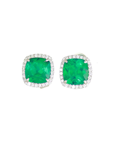 18k White Gold Cushion Lab Created Emerald Diamond Halo Stud Earrings