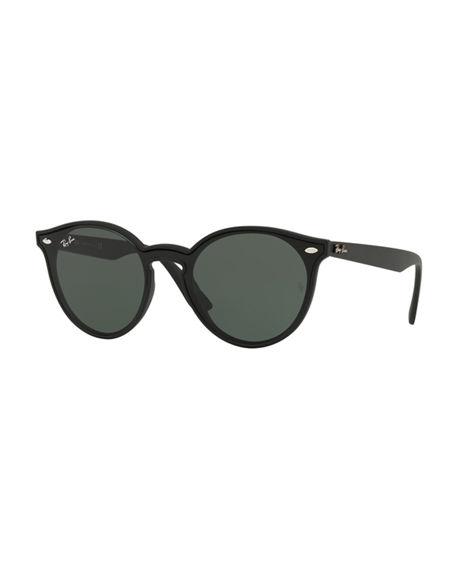 80c609656 Ray Ban Round Lens-Over-Frame Plastic Sunglasses In Matte Black ...