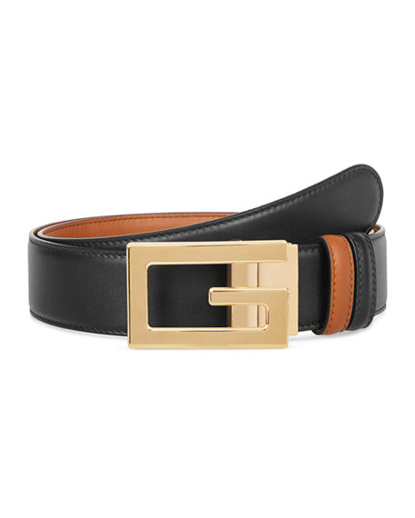 22b3a9dd Gucci Men's Retro G Reversible Leather Belt In Brown | ModeSens