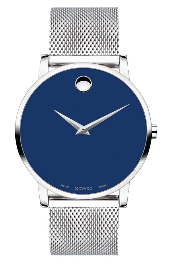 Men S Museum Classic Mesh Bracelet Watch In Silver Blue Silver