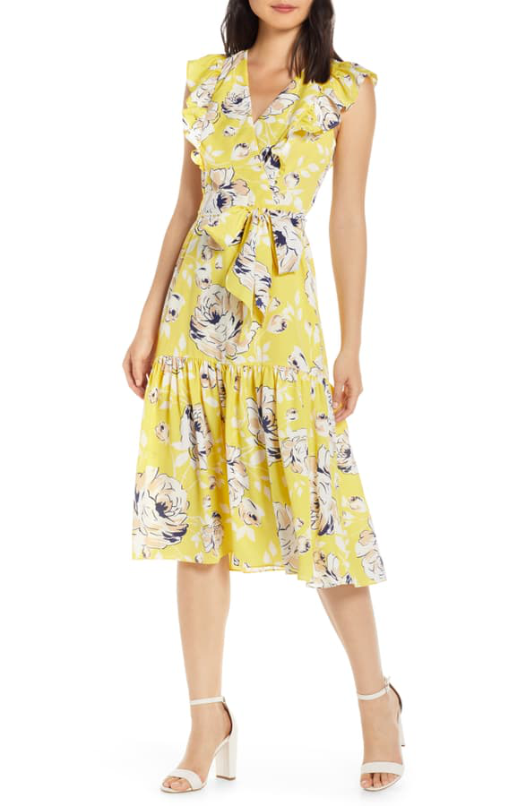 6505a222e6edd Floral Ruffle Detail Crepe De Chine Fit & Flare Dress in Yellow