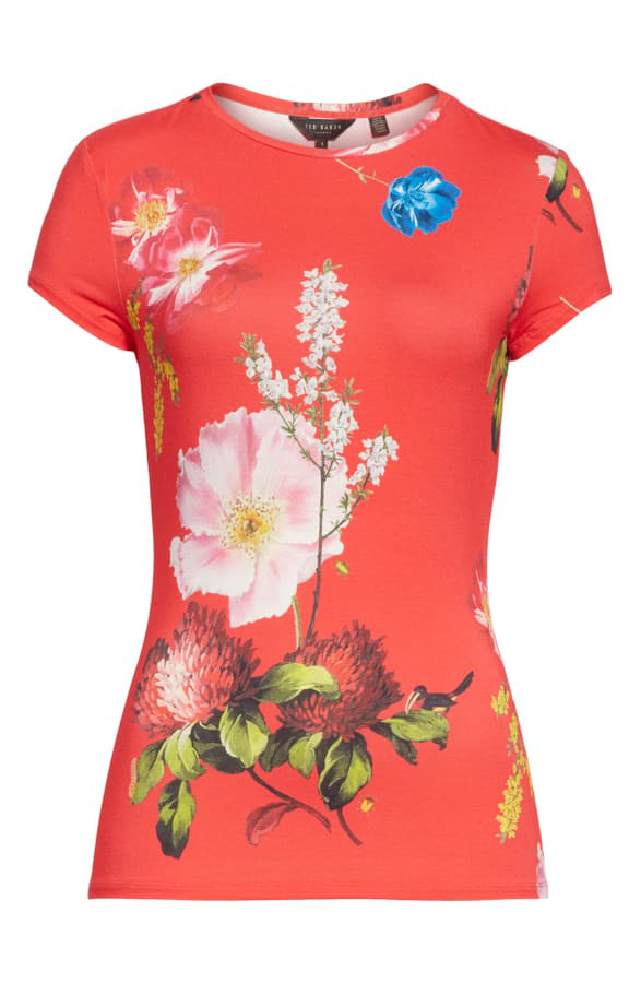 Ted Baker Dililah Floral Tee In Gold