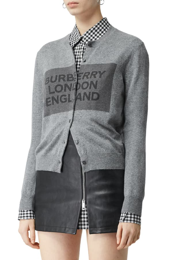 Burberry Logo Detail Cashmere Cardigan In Grey