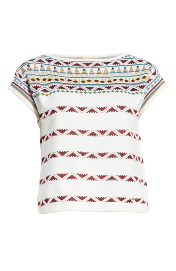 Ted Baker Cenna Geo Pattern Knit Top In Ivory