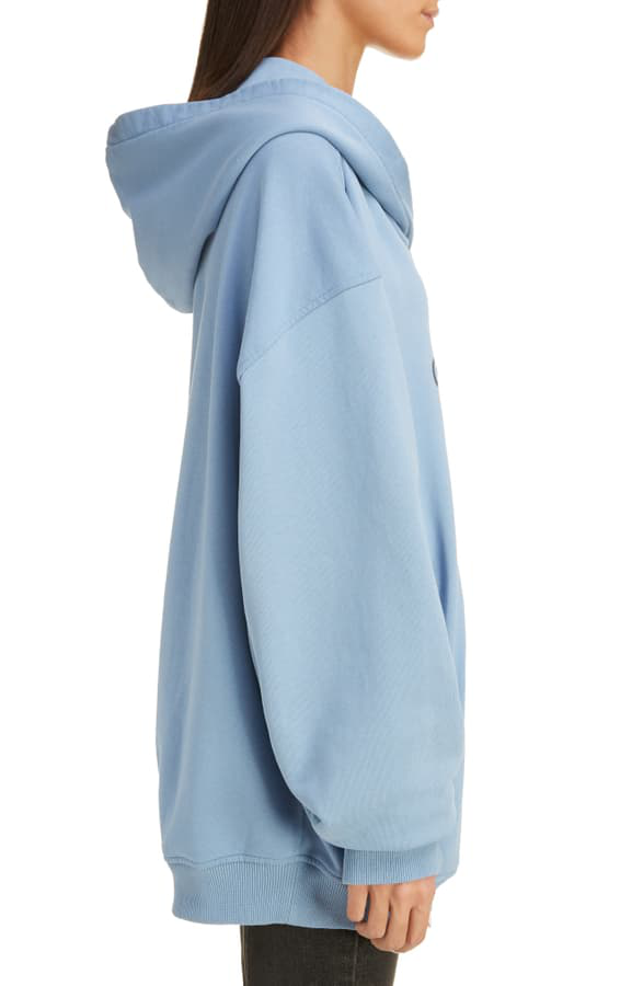 Givenchy Oversized Printed Embroidered Cotton-Jersey Hoodie In Light Blue