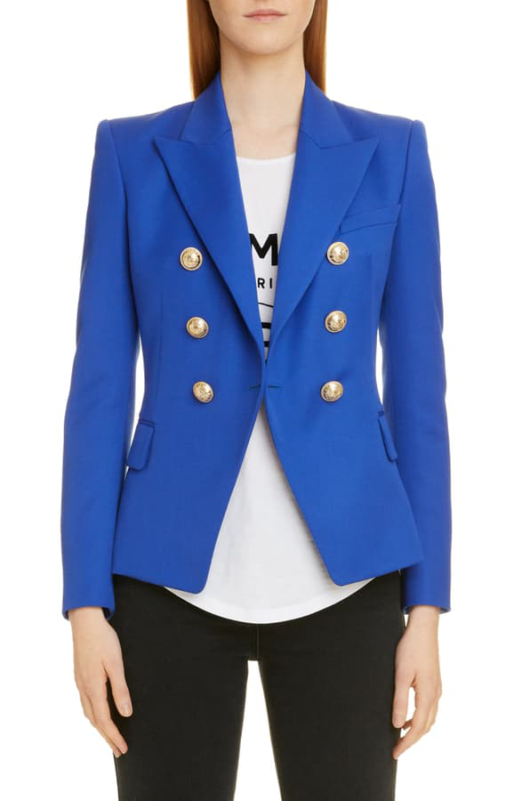 Balmain Double Breasted Grain De Poudre Wool Jacket In Royal Blue