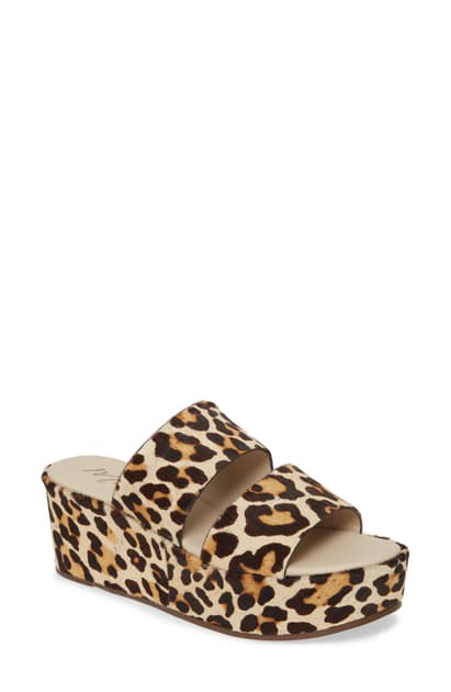 Matisse Struttin' Platform Wedge Genuine Calf Hair Slide Sandal In Leopard Print Calf Hair