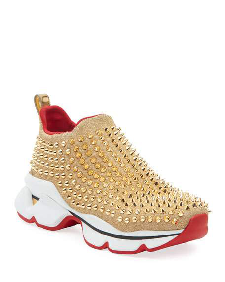 Spike Sock Red Sole Sneakers In Gold