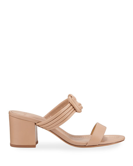 Alexandre Birman Vicky Knotted Leather Block-Heel Sandals