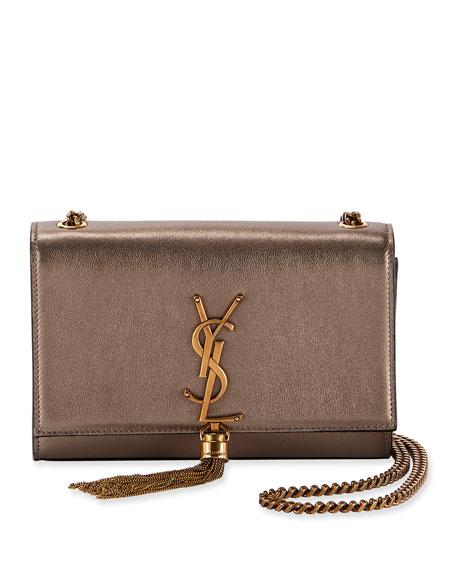 a2d52b23 Kate Small Ysl Monogram Metallic Tassel Crossbody Bag in Silver