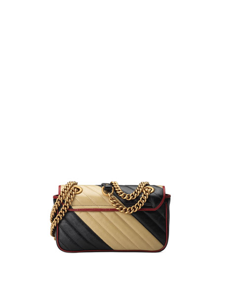 Gucci Small Gg Marmont 2.0 Bicolor Leather Bag In Black,Beige
