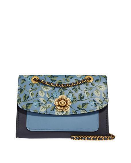 d5a12416 Parker Floral-Print Leather Shoulder Bag in Blue Pattern
