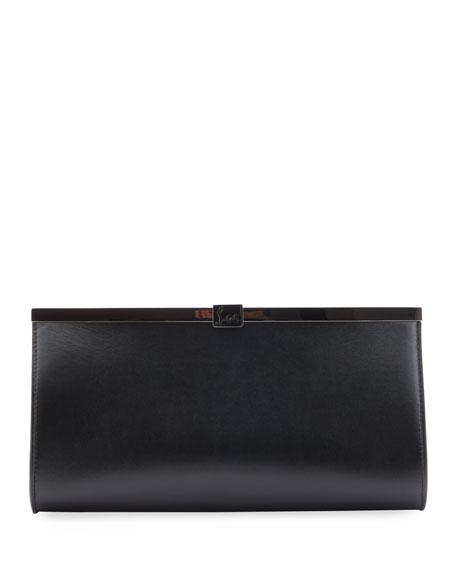 b3f1ba214f5 Palmette Calfskin Leather Frame Clutch in Black