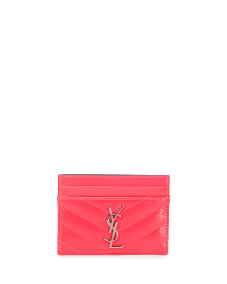 buy popular 3b379 c207d Monogram Ysl Neon Leather Card Case in Bright Pink