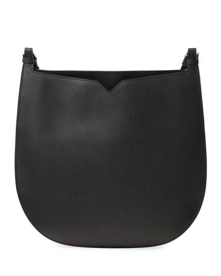 0c551374fe11d Valextra Weekend Hobo Large Leather Shoulder Bag In Black | ModeSens