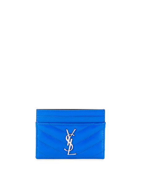 c34d4651c5c Saint Laurent Monogram Ysl Neon Leather Card Case In Bright Blue ...