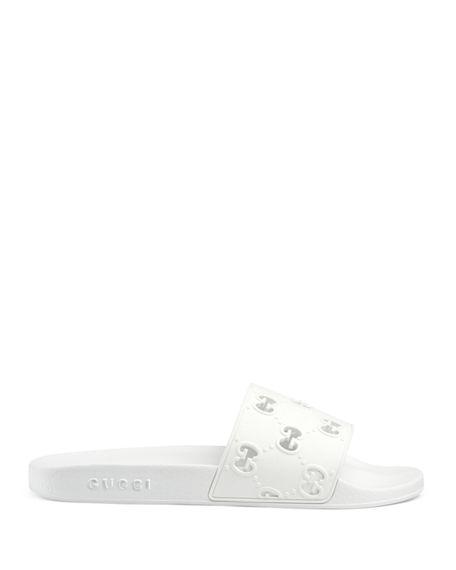 Gucci Women's Rubber Gg Slide Sandal In White