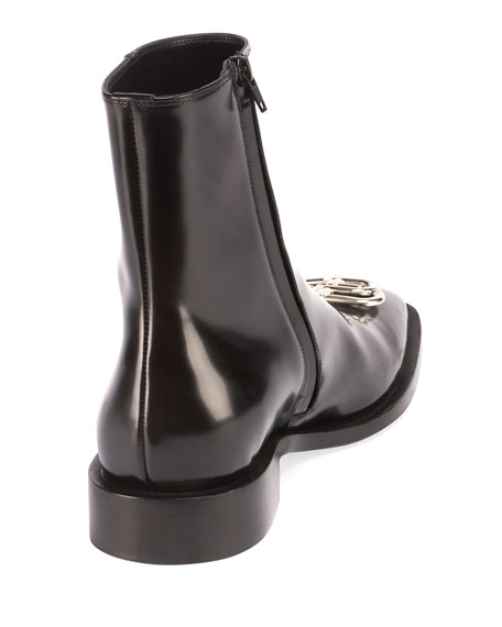 Balenciaga Men's Rim Bb-Logo Leather Booties In Black