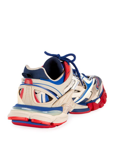 Balenciaga Track 2 Nylon, Mesh And Rubber Sneakers In Blue