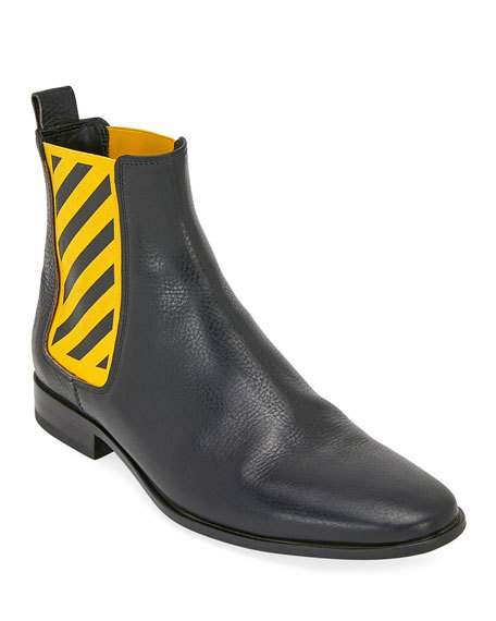 9b37e077652 Off-White Men's Striped-Gore Leather Chelsea Boot In Black | ModeSens