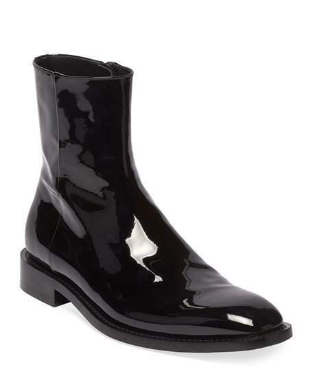 Balenciaga Men's Rim Patent Leather Chelsea Boots In Black