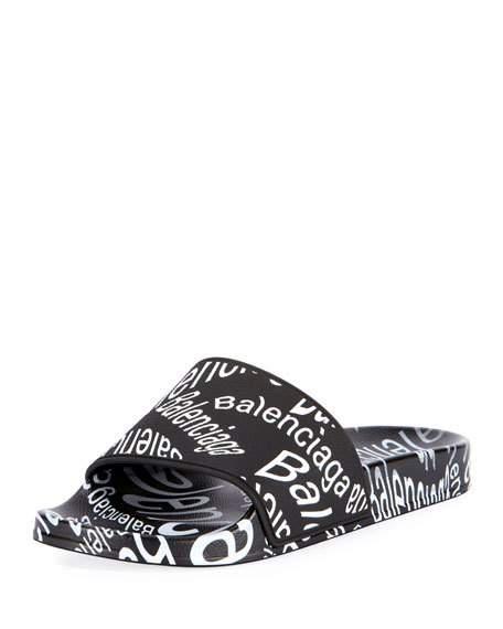 Balenciaga Men's Logo-Print Pool Slide Sandals In Black/White