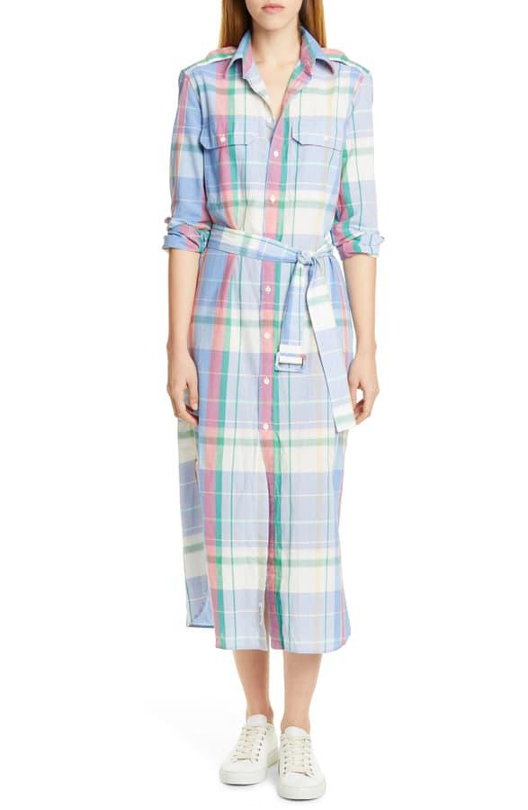 Shirtdress Soft Long Sleeve Plaid Pink Cotton In Blue 101 54Rjq3AL