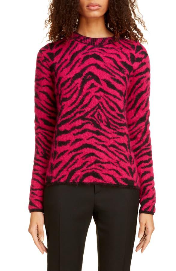 Saint Laurent Crewneck Zebra Print Fuzzy-Wool Sweater In Pink