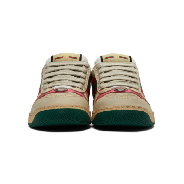 Gucci Low-Top Sneakers Screener  Calfskin Canvas Logo Used Beige Rose In 9665 Bianco
