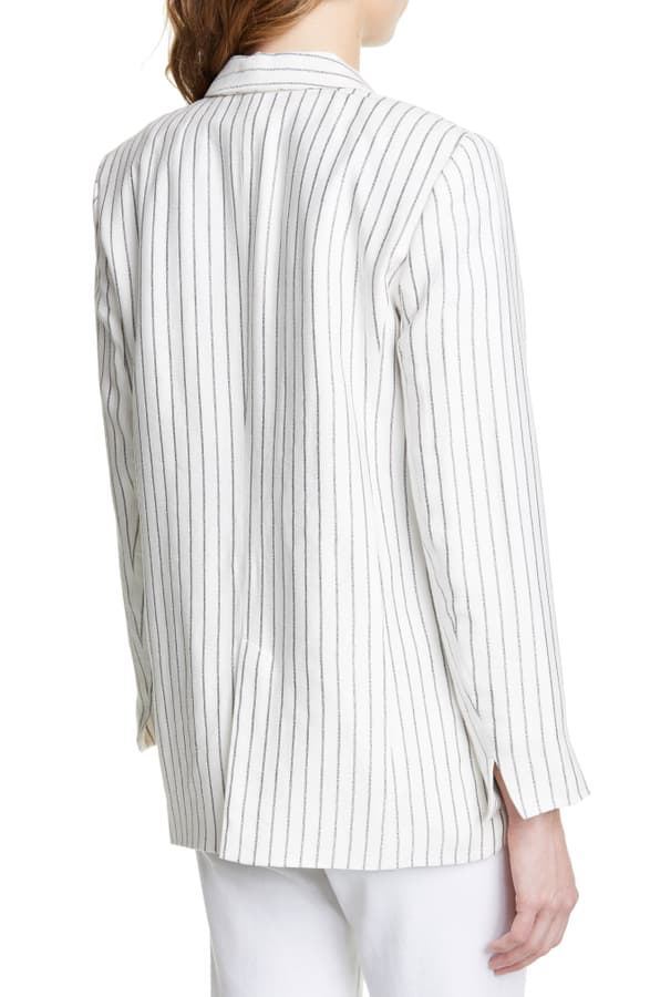 Joie Darryl Pinstriped One-Button Jacket In Porcelain