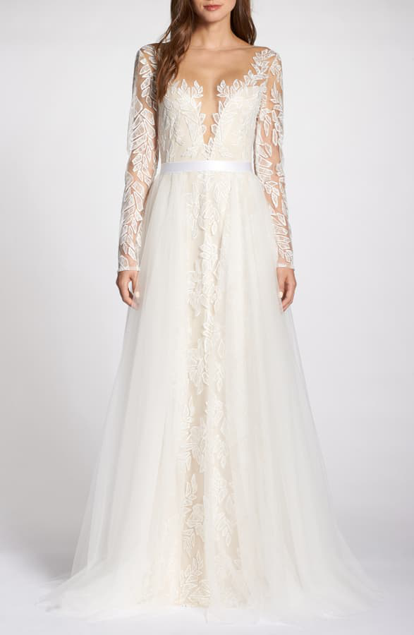Tadashi Shoji Wedding.Lace Applique V Neck Wedding Dress With Overskirt In Ivory Petal