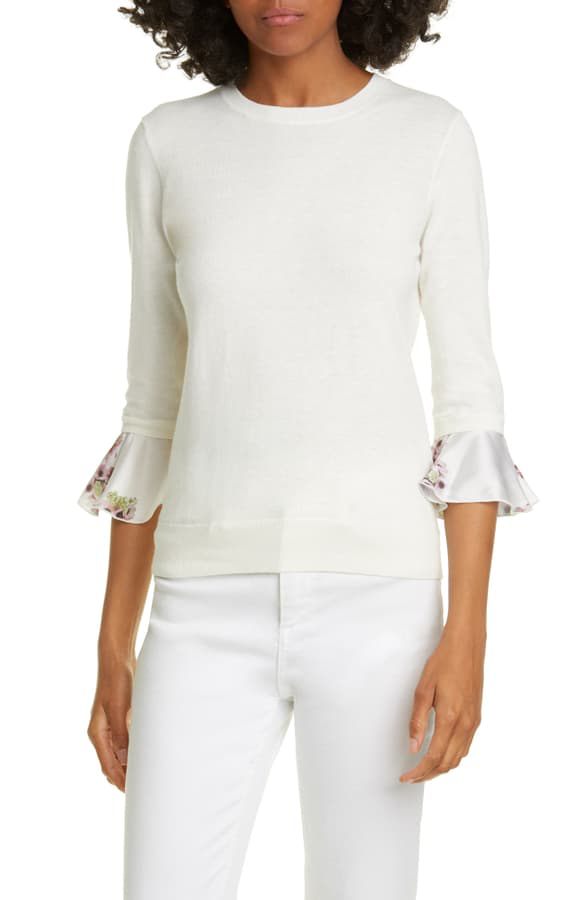 Ted Baker Neopolitan Frill Sleeve Cotton Blend Sweater In Ivory