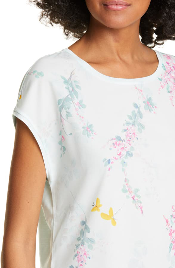 Ted Baker Benlita Sorbet Floral Top In Pale Green
