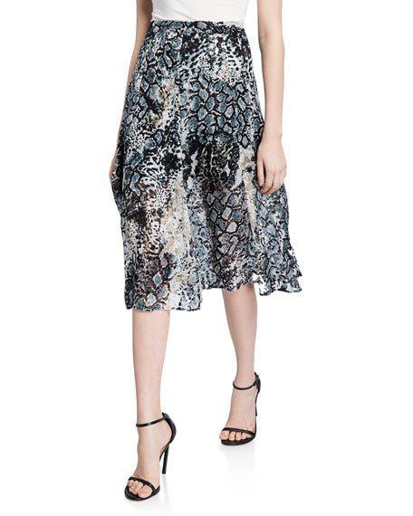 Athena Midi Skirt With Slits in Python