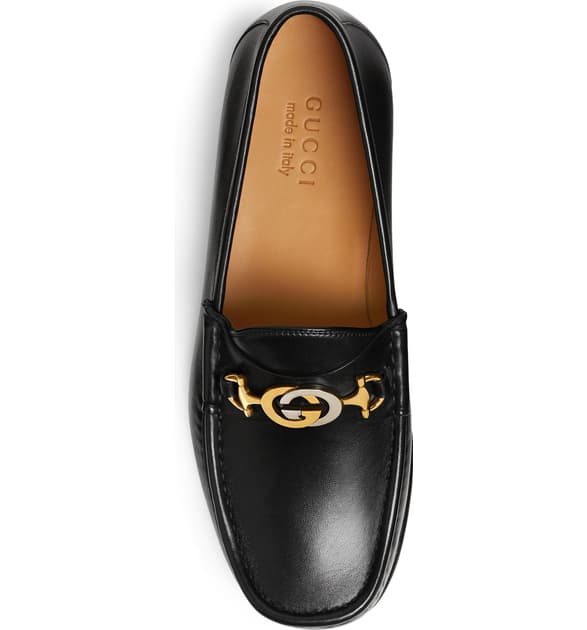 Gucci Easy Roos Horsebit Collapsible-Heel Leather Loafers In Black